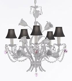 White Wrought Iron Floral Chandelier Empress Crystal (tm) Flower Chandeliers with Black Shades and Pink Hearts