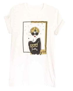 Arabic Turban Girl Short Sleeve White Tshirt with Gold and Black Graphics