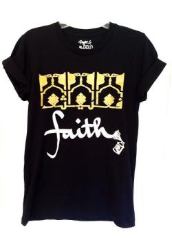 Arabic Faith Short Sleeve Black Tshirt with Gold and White Graphics