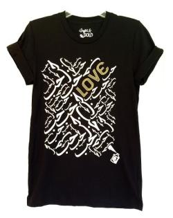 Arabic Love Short Sleeve Black Tshirt with Gold and White Graphics