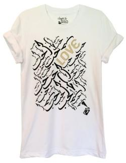 Arabic Love Short Sleeve White Tshirt with Gold and Black Graphics