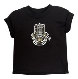Boy's Hamza Hand Black Short Sleeve Graphic Tshirt