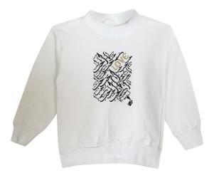 Girl's Love White Graphic Fleece Pullover Sweatshirt