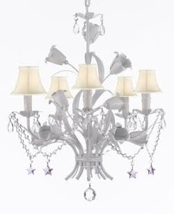 White Wrought Iron Floral Chandelier Empress Crystal (tm) Flower Chandeliers with White Shades and Purple Stars