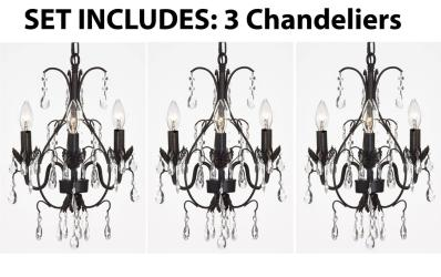 "CHANDELIERS WROUGHT IRON CRYSTAL CHANDELIER ISLAND PENDANT LIGHTING H18"" W14""..."