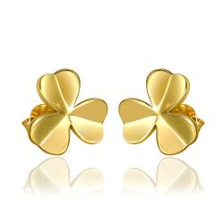 Rubique Jewelry 18K Gold Clean Plate Clover Shaped Stud Earrings Made with Swarovksi Elements
