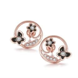 Rubique Jewelry 18K Rose Gold Trio Butterflies Hoop Earrings Made with Swarovksi Elements