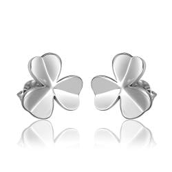 Rubique Jewelry 18K White Gold Clean Plate Clover Shaped Stud Earrings Made with Swarovksi Elements