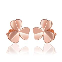 Rubique Jewelry 18K Rose Gold Clean Plate Clover Shaped Stud Earrings Made with Swarovksi Elements