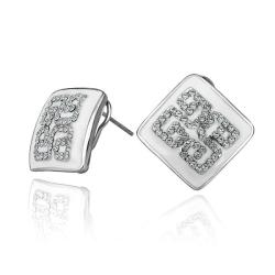 Rubique Jewelry 18K White Gold Ivory Layering Crystal Design Studs Made with Swarovksi Elements