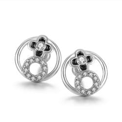 Rubique Jewelry 18K White Gold Circular Earrings with Swarovski's Crystals Made with Swarovksi Elements