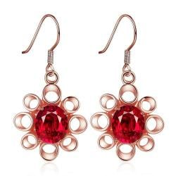 Rubique Jewelry 18K Rose Gold Mini Snowflake Drop Down Earrings Made with Swarovksi Elements
