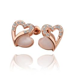 Rubique Jewelry 18K Rose Gold Hollow Heart Stud Earrings with Gem Made with Swarovksi Elements