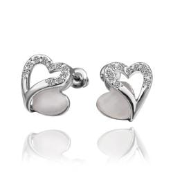 Rubique Jewelry 18K White Gold Hollow Heart Stud Earrings with Gem Made with Swarovksi Elements