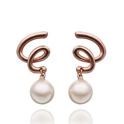 Rubique Jewelry 18K Rose Gold Spiral Drop Down Earrings with Pearl Made with Swarovksi Elements