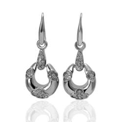 Rubique Jewelry 18K White Gold Circular Drop Down Earrings Made with Swarovksi Elements