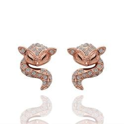 Rubique Jewelry 18K Rose Gold Spiral Cat Drop Down Earrings Made with Swarovksi Elements