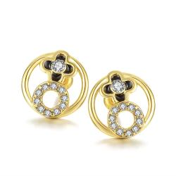 Rubique Jewelry 18K Gold Circular Earrings with Swarovski's Crystals Made with Swarovksi Elements