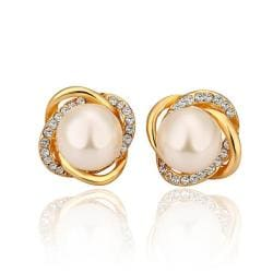 Rubique Jewelry 18K Gold Spiral Studs with Pearl Center Made with Swarovksi Elements