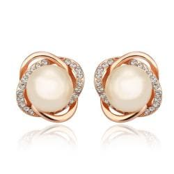 Rubique Jewelry 18K Rose Gold Spiral Studs with Pearl Center Made with Swarovksi Elements