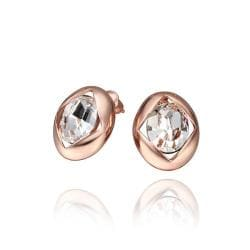 Rubique Jewelry 18K Rose Gold Round Stud Earrings with Crystal Centerpiece Made with Swarovksi Elements