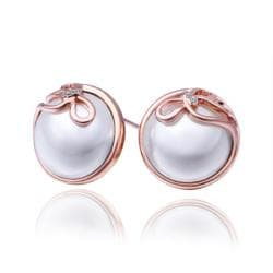 Rubique Jewelry 18K Rose Gold Pearl & Bow Tie Stud Earrings Made with Swarovksi Elements