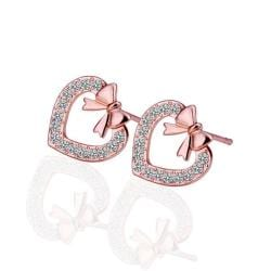 Rubique Jewelry 18K Rose Gold Heart Shaped Bow Tie Stud Earrings Made with Swarovksi Elements