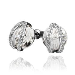 Rubique Jewelry 18K White Gold Stud Earrings with Crystal Jewel Centerpiece Made with Swarovksi Elements