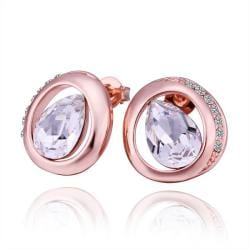 Rubique Jewelry 18K Rose Gold Circular Stud Earrings with Crystal Jewel Made with Swarovksi Elements