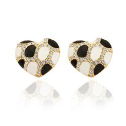 Rubique Jewelry 18K Gold Heart Shaped Ivory & Onyx Gem Stud Earrings Made with Swarovksi Elements