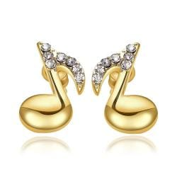 Rubique Jewelry 18K Gold Musical Note Stud Earrings Made with Swarovksi Elements