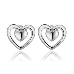 Rubique Jewelry 18K White Gold Petite Heart Shaped Stud Earrings Made with Swarovksi Elements