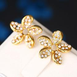 Rubique Jewelry 18K Gold Intertwined Rose Petal Studs Made with Swarovksi Elements