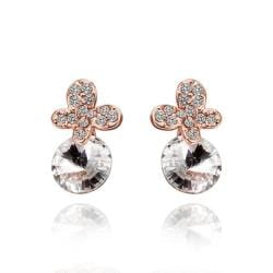 Rubique Jewelry 18K Rose Gold Clover Drop Down Earrings with Jewel Gem Made with Swarovksi Elements
