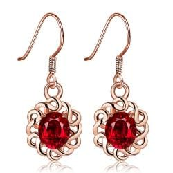 Rubique Jewelry 18K Rose Gold Mini Ruby Gem Drop Down Earrings Made with Swarovksi Elements