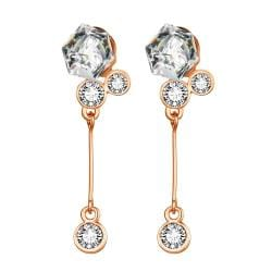 Rubique Jewelry 18K Rose Gold Singular Drop Earrings with Swarovski Jewels Made with Swarovksi Elements