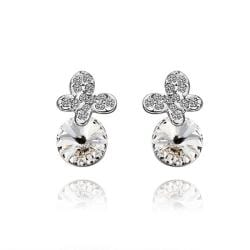 Rubique Jewelry 18K White Gold Clover Drop Down Earrings with Jewel Gem Made with Swarovksi Elements