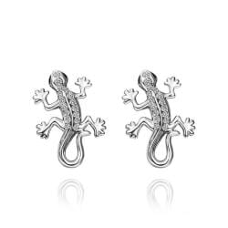 Rubique Jewelry 18K White Gold Salamander Stud Earrings Made with Swarovksi Elements