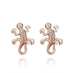 Rubique Jewelry 18K Rose Gold Salamander Stud Earrings Made with Swarovksi Elements