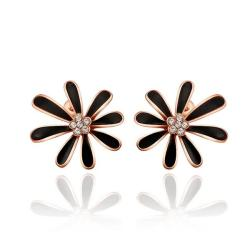Rubique Jewelry 18K Rose Gold Floral Petal Studs with Onyx Covering Made with Swarovksi Elements