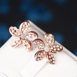 Rubique Jewelry 18K Rose Gold Intertwined Rose Petal Studs Made with Swarovksi Elements