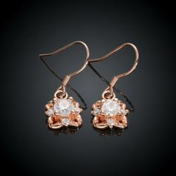 Rubique Jewelry 18K Rose Gold Drop Down Earrings with Crystal Swarovski Made with Swarovksi Elements