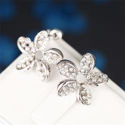 Rubique Jewelry 18K White Gold Intertwined Rose Petal Studs Made with Swarovksi Elements