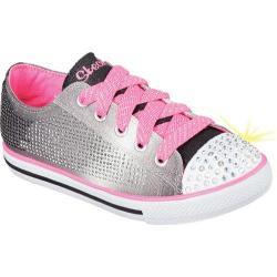 Girls' Skechers Twinkle Toes Chit Chat Electro Spark Sneaker Black/Neon Pink