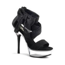 Women's Pleaser Allure 664 Black Chiffon/Clear
