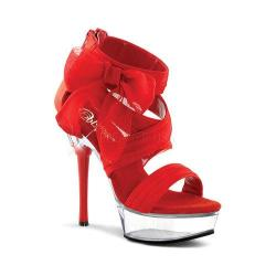 Women's Pleaser Allure 664 Red Chiffon/Clear