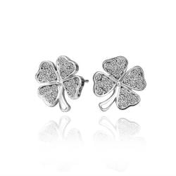 18K White Gold Clover Stud Earrings Made with Swarovksi Elements only only from Rubique Jewelry Jewelry