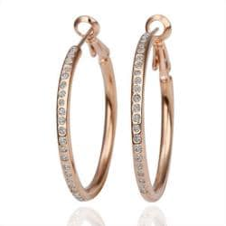 18K Rose Gold Large Hoop Earrings Made with Swarovksi Elements only only from Rubique Jewelry Jewelry