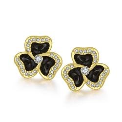 18K Gold Rose Petal Studs Made with Swarovksi Elements only only from Rubique Jewelry Jewelry