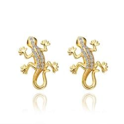 18K Gold Salamander Stud Earrings Made with Swarovksi Elements only only from Rubique Jewelry Jewelry